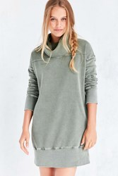 Silence And Noise Washed Turtleneck Sweatshirt Mini Dress Olive