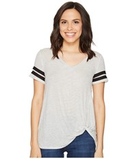 Culture Phit Keely Short Sleeve Striped Top Ivory Black Women's Clothing Multi