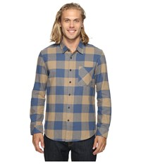 Quiksilver Motherfly Classic Woven Button Up Flannel Elmwood Men's Clothing Tan