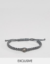 Designb London Crystal Stone Woven Bracelet In Grey Grey