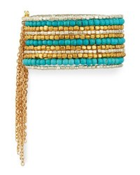 Panacea Wide Beaded Cuff Bracelet W Chain Fringe Blue