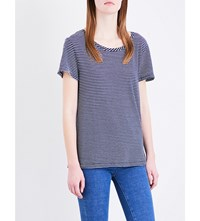 Mih Jeans Nora Cotton And Linen Blend T Shirt Navy Cream