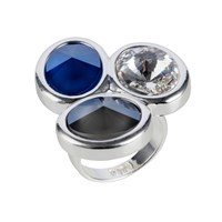 Nadia Minkoff Oval Triple Ring Silver Blue Mix Silver Blue