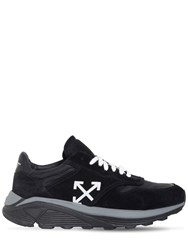 Off White Black Cotton And Suede Jogger Sneakers