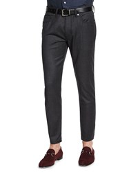 Ermenegildo Zegna Five Pocket Stretch Wool Pants Charcoal Grey