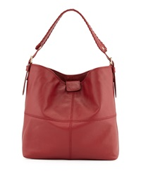 Isabella Fiore Maroquin Leather Hobo Bag Garnet