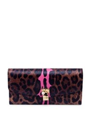 Dolce And Gabbana Leopard Print Leather Continental Wallet