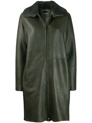 Manzoni 24 Mink Fur Collar Coat Green