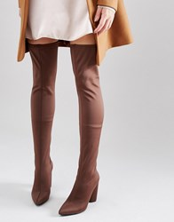 Missguided Neoprene Thigh High Heeled Boot Brown