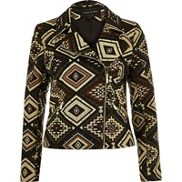 River Island Womens Brown Aztec Pattern Biker Jacket