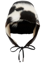 Karl Donoghue Black Toscana Shearling Trapper Hat Black And White