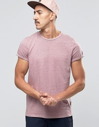 Asos T Shirt In Lilac Nep With Roll Sleeve Dusty Lilac Purple