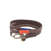 J.Crew Caputo And Co. Triple Wrap Leather And Waxed Cord Bracelet