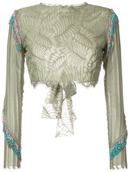 Baja East Fringed Cropped Lace Blouse Women Nylon Rayon 1 Green