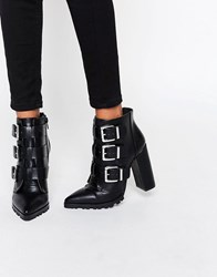 Asos Enza Multi Buckle Pointed Ankle Boots Black