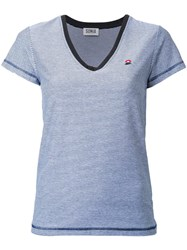 Sonia Rykiel By Striped V Neck T Shirt Blue