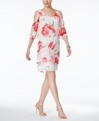 Connected Floral Print Chiffon Cold Shoulder Dress White Pink