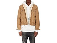 R 13 R13 Men's Sky Faux Shearling Lined Corduroy Trucker Jacket Tan Cream