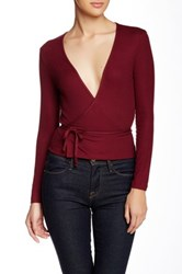 American Apparel Long Sleeve Wrap Blouse Red
