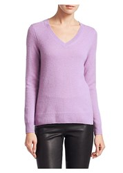 Saks Fifth Avenue Collection Featherweight Cashmere V Neck Sweater Tapestry Heather Lavender Frost Ebony Light Plum D