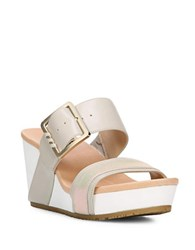 Dr. Scholl's Original Frill High Wedge Leather Sandals Grey