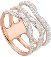 Monica Vinader Riva Wave Rose Gold Vermeil Pave Diamond Triple Ring