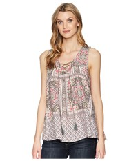 Roper 1574 Sleeveless Scarf Print Peasant Top Pink Clothing