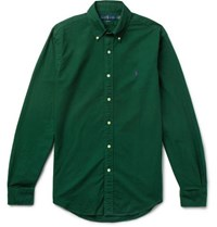 Polo Ralph Lauren Slim Fit Button Down Collar Garment Dyed Cotton Oxford Shirt Green