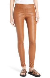 Helmut Lang Women's Stretch Lambskin Leather Leggings Fawn