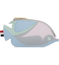 Thom Browne Fish Leather Coin Purse Light Blue Mix