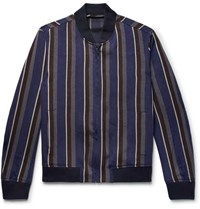 Todd Snyder Striped Linen Blend Bomber Jacket Multi