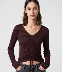 Allsaints Rina Glitz T Shirt Copper Red