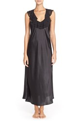 Women's Oscar De La Renta Sleepwear Ruffled Satin Nightgown Black