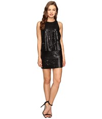 Halston Sleeveless Round Neck Sequined Dress Matte Black Shiny Black Women's Dress