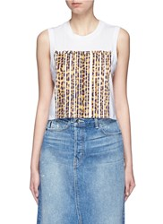 Alexander Wang Leopard Barcode Print Cropped Tank Top Animal Print