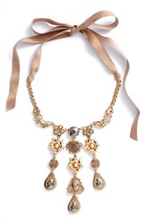 Badgley Mischka Women's Crystal And Freshwater Pearl Collar Necklace Gold
