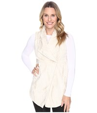 Dylan By True Grit Silky Faux Fur Long Snap Vest With Pockets Chalk Women's Vest White
