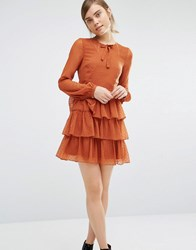Vero Moda Tie Neck Tiered Dress Rust Orange