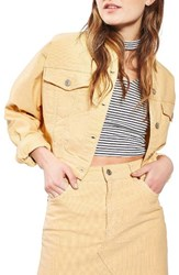 Topshop Women's Moto Crop Corduroy Jacket Yellow