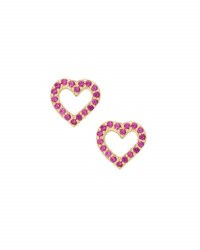 Lana Girl Girls' Pink Sapphire Heart Stud Earrings Gold
