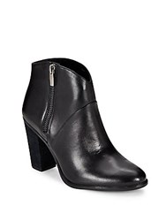 Vince Camuto Almond Toe Leather Ankle Boots Black
