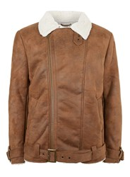 Topman Brown Shearling Biker Jacket