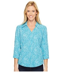 Royal Robbins Expedition Chill Stretch Sky Print 3 4 Sleeve Top Reservoir Women's Long Sleeve Button Up Blue