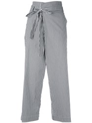 P.A.R.O.S.H. Belted Striped Cropped Trousers Women Cotton Polyamide Spandex Elastane M White