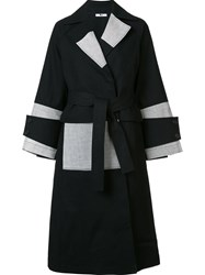 Tome Patchwork Denim Belted Trench Coat Black