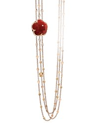 Pasquale Bruni 18K Rose Gold Bon Ton Diamond And Carnelian Multi Strand Necklace 39.5 Red Rose Gold