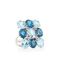 Vianna B.R.A.S.I.L London Blue Topaz Cocktail Ring Size 7