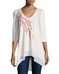 Jwla Voltage Noriko 3 4 Sleeve Floral Embroidered Tunic Brie