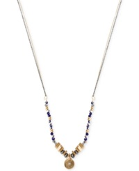 Kenneth Cole New York Two Tone Mixed Bead Circle Pendant Necklace Blue