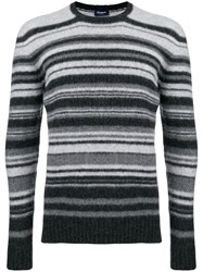 Drumohr Striped Slim Fit Sweater Grey